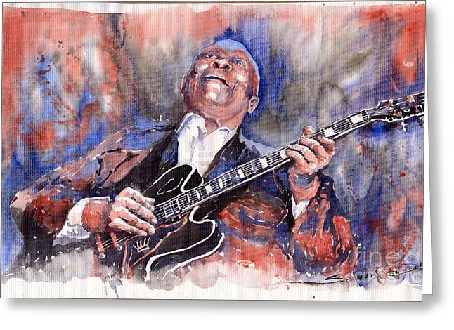 Watercolour Paintings Greeting Cards - Jazz B B King 05 Red a Greeting Card by Yuriy  Shevchuk