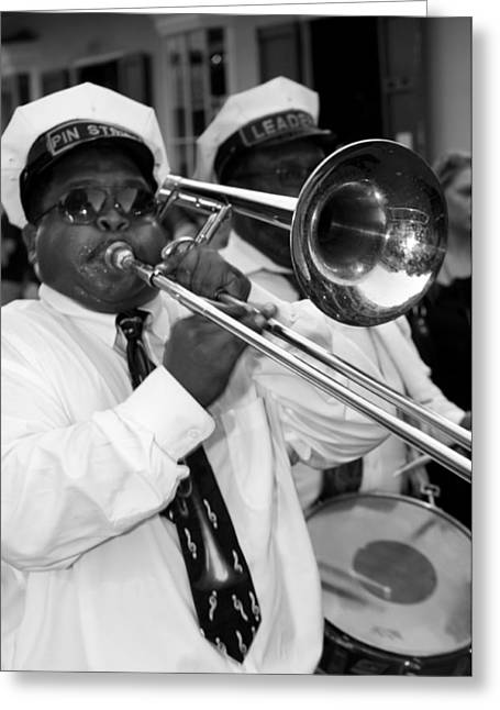 Marching Band Greeting Cards - Jazz Band Greeting Card by Bourbon  Street