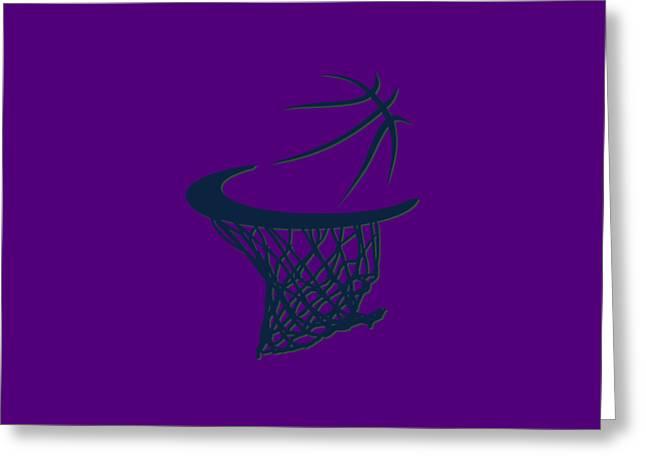 Basket Ball Greeting Cards - Jazz Basketball Hoop Greeting Card by Joe Hamilton