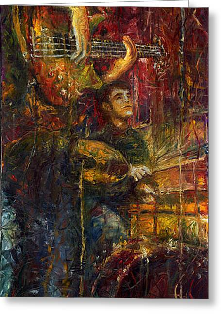 Instrument Paintings Greeting Cards - Jazz Bass Guitarist Greeting Card by Yuriy  Shevchuk
