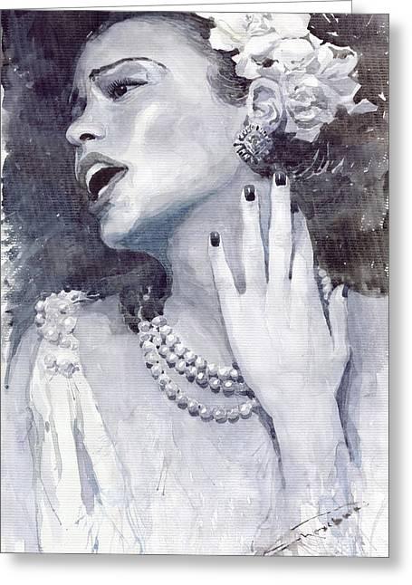 Jazz Billie Holiday Greeting Card by Yuriy  Shevchuk