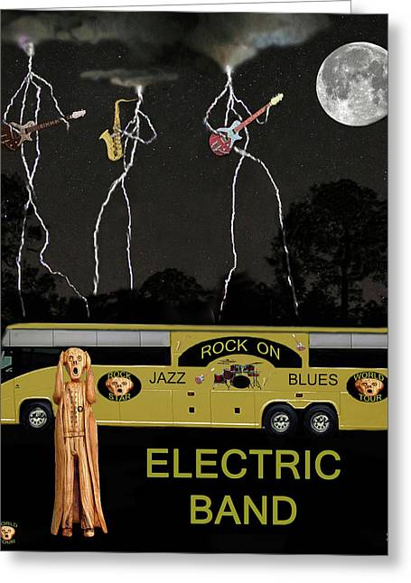 Tour Bus Mixed Media Greeting Cards - Jazz Blues Electric Band Greeting Card by Eric Kempson