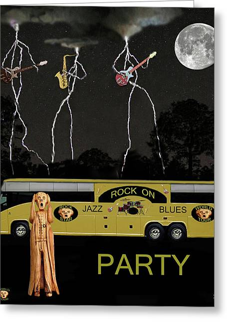 Tour Bus Mixed Media Greeting Cards - Jazz Blues Party Greeting Card by Eric Kempson
