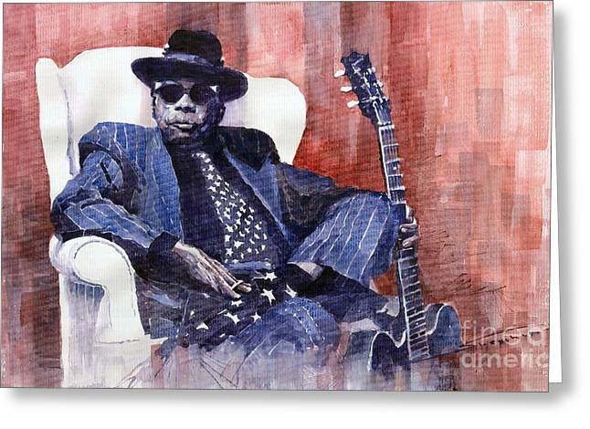 Watercolour Paintings Greeting Cards - Jazz Bluesman John Lee Hooker 02 Greeting Card by Yuriy  Shevchuk
