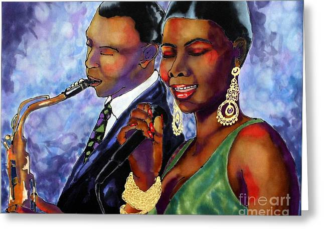 Americans Tapestries - Textiles Greeting Cards - Jazz Duet Greeting Card by Linda Marcille