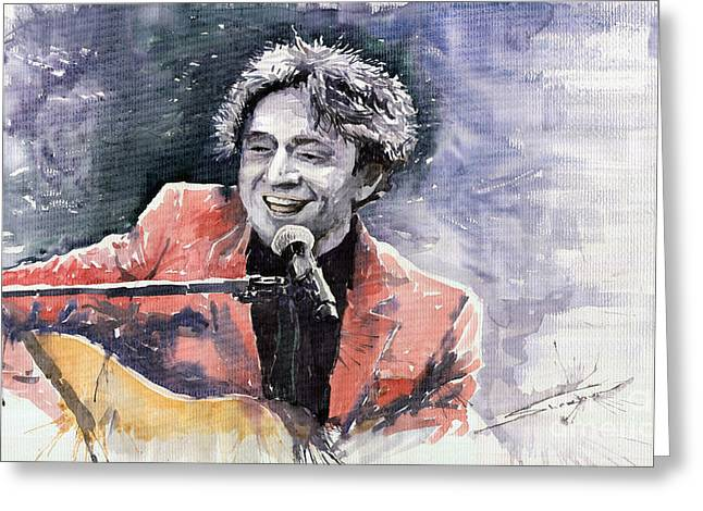 Watercolour Paintings Greeting Cards - Jazz Goran Bregovich In the Death Car Greeting Card by Yuriy  Shevchuk