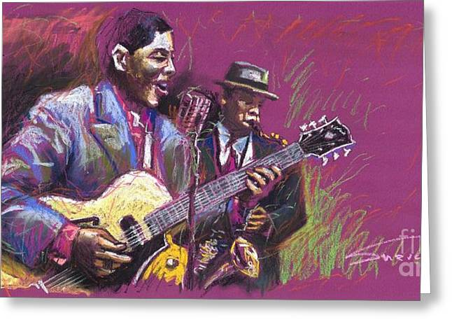 Celebrities Greeting Cards - Jazz Guitarist Duet Greeting Card by Yuriy  Shevchuk