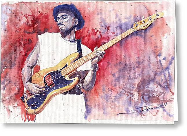 Jazz Guitarist Marcus Miller Red Greeting Card by Yuriy  Shevchuk