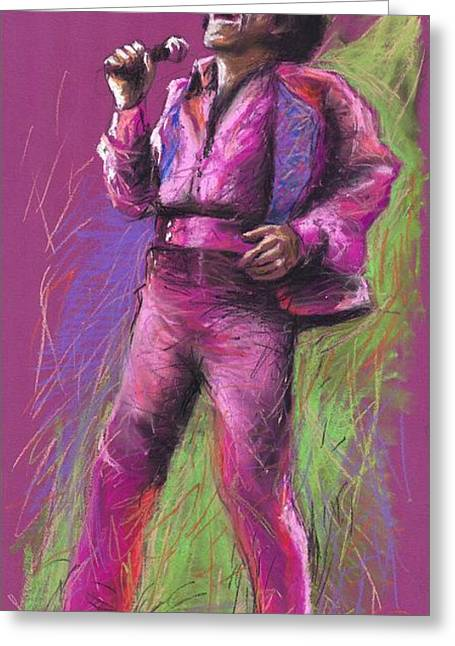 Pastels Greeting Cards - Jazz James Brown Greeting Card by Yuriy  Shevchuk