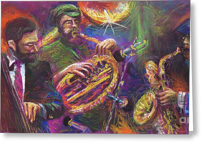 Musicians Paintings Greeting Cards - Jazz Jazzband Trio Greeting Card by Yuriy  Shevchuk