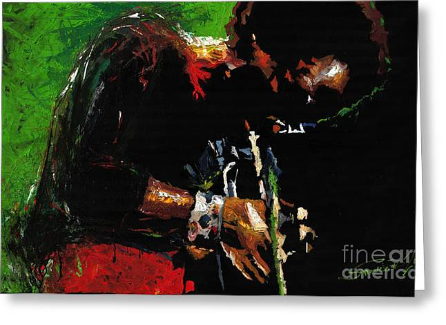 African-american Paintings Greeting Cards - Jazz Miles Davis 1 Greeting Card by Yuriy  Shevchuk