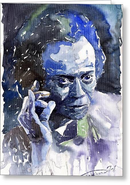Watercolour Paintings Greeting Cards - Jazz Miles Davis 11 blue Greeting Card by Yuriy  Shevchuk
