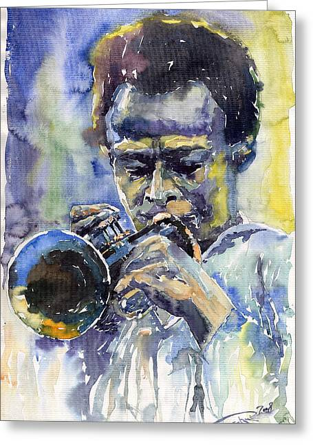 Man Greeting Cards - Jazz Miles Davis 12 Greeting Card by Yuriy  Shevchuk