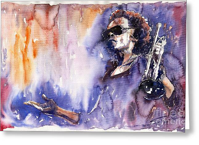 Music Greeting Cards - Jazz Miles Davis 14 Greeting Card by Yuriy  Shevchuk