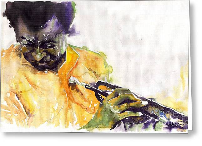 Trumpeters Greeting Cards - Jazz Miles Davis 7 Greeting Card by Yuriy  Shevchuk
