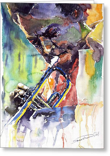 Portret Greeting Cards - Jazz Miles Davis 9 Blue Greeting Card by Yuriy  Shevchuk