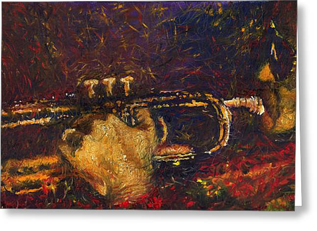 Instrument Paintings Greeting Cards - Jazz Miles Davis  Greeting Card by Yuriy  Shevchuk