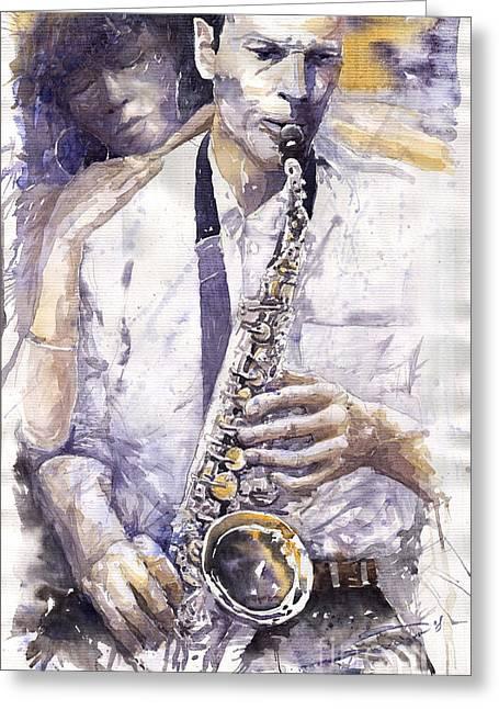 Jazz Muza Saxophon Greeting Card by Yuriy  Shevchuk