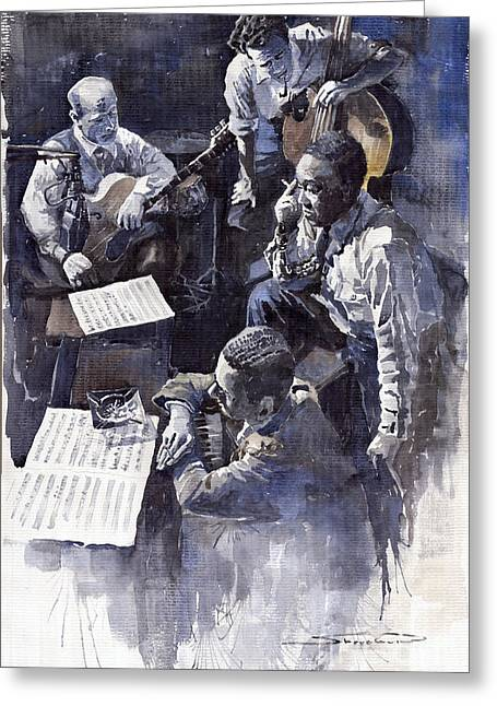 Parker Greeting Cards - Jazz Parker Tristano Bauer Safransky RCA studio NY 1949 Greeting Card by Yuriy  Shevchuk