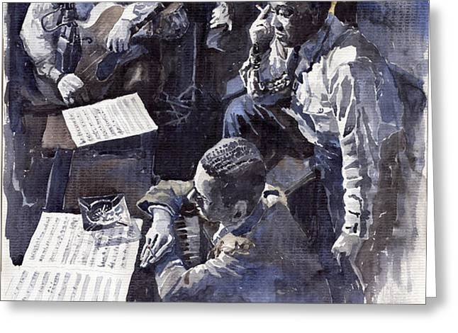 Jazz Parker Tristano Bauer Safransky RCA studio NY 1949 Greeting Card by Yuriy  Shevchuk