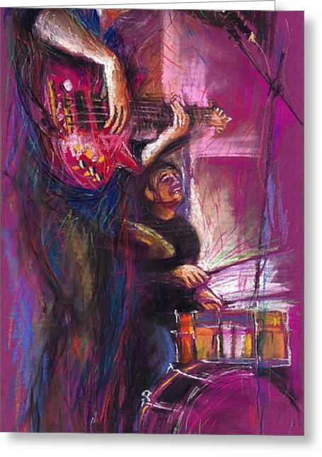 Pastel Greeting Card featuring the painting Jazz Purple Duet by Yuriy  Shevchuk