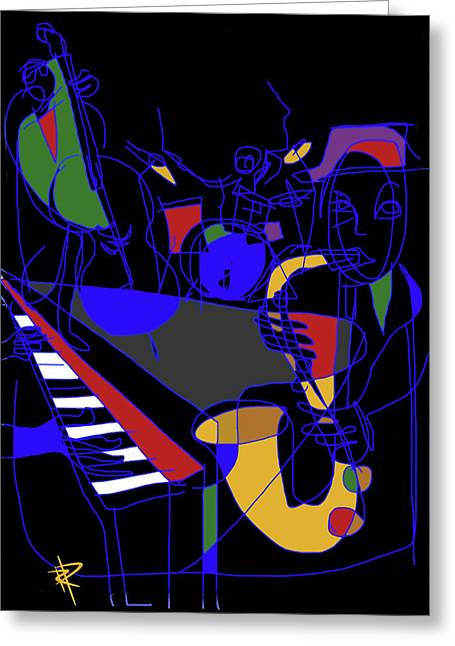 Stand Up Bass Greeting Cards - Jazz Quartet Greeting Card by Russell Pierce