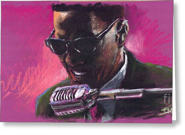 Pastels Greeting Cards - Jazz. Ray Charles.1. Greeting Card by Yuriy  Shevchuk
