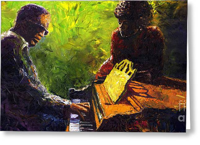 Musician Greeting Cards - Jazz Ray Duet Greeting Card by Yuriy  Shevchuk
