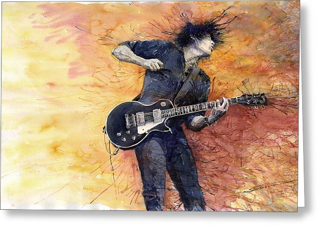 Watercolour Greeting Cards - Jazz Rock Guitarist Stone Temple Pilots Greeting Card by Yuriy  Shevchuk