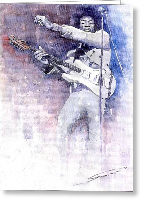 Jimi Hendrix Paintings Greeting Cards - Jazz Rock Jimi Hendrix 07 Greeting Card by Yuriy  Shevchuk