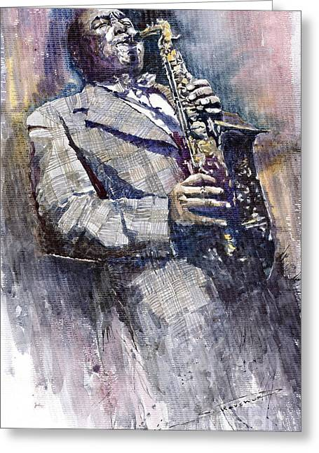Parker Greeting Cards - Jazz Saxophonist Charlie Parker Greeting Card by Yuriy  Shevchuk
