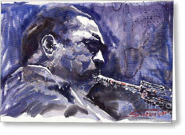 Jazz Saxophonist John Coltrane 01 Greeting Card by Yuriy  Shevchuk