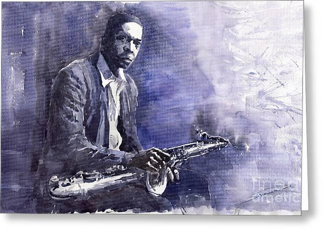 Figuratives Greeting Cards - Jazz Saxophonist John Coltrane 03 Greeting Card by Yuriy  Shevchuk