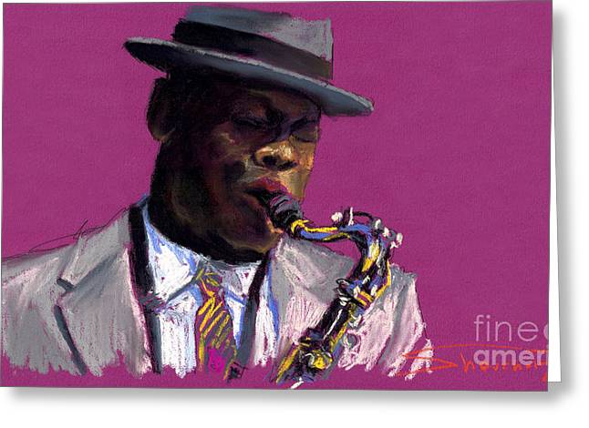 Pastels Greeting Cards - Jazz Saxophonist Greeting Card by Yuriy  Shevchuk