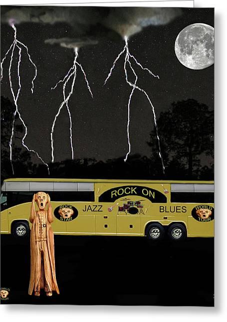 Tour Bus Mixed Media Greeting Cards - Jazz Scream Tour Greeting Card by Eric Kempson