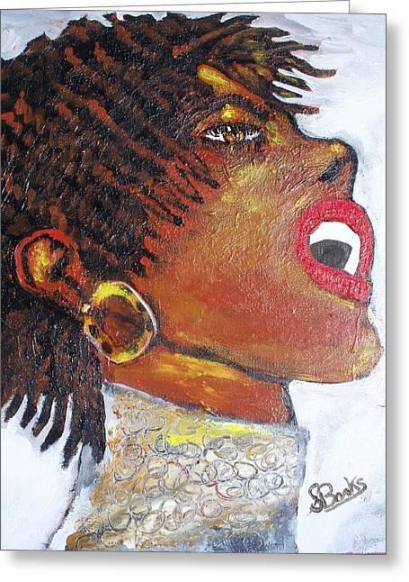 Gold Earrings Greeting Cards - Jazz Singer Jade Greeting Card by Samuel Banks