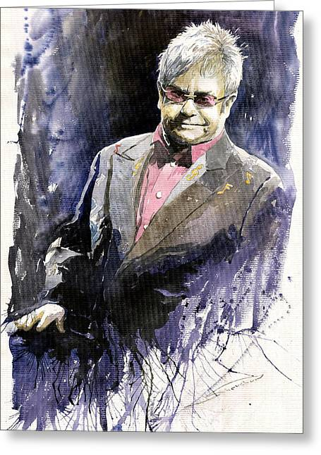 Jazz Sir Elton John Greeting Card by Yuriy  Shevchuk