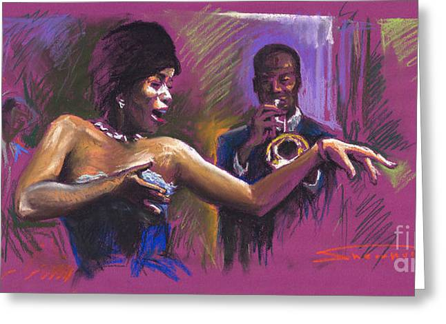 Celebrities Greeting Cards - Jazz Song.2. Greeting Card by Yuriy  Shevchuk