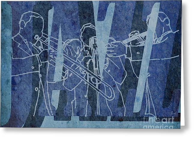 Regalo Greeting Cards - Jazz Trio 33 - Blue Greeting Card by Pablo Franchi