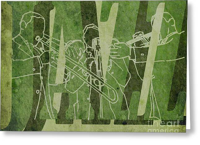 Regalo Greeting Cards - Jazz Trio 33 - Green Greeting Card by Pablo Franchi