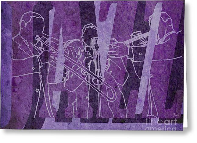 Regalo Greeting Cards - Jazz Trio 33 - Purple Greeting Card by Pablo Franchi