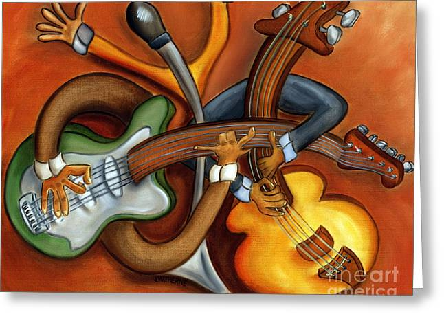 Best-selling Band Greeting Cards - Jazz Trio Greeting Card by Joshua Matherne