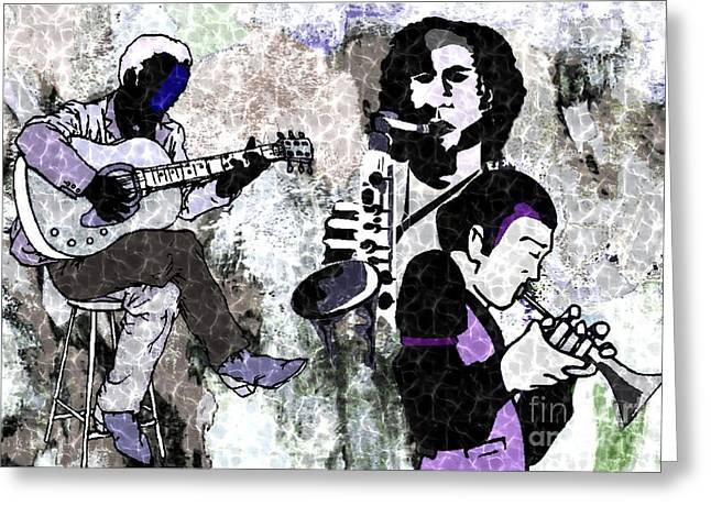 Playing Musical Instruments Mixed Media Greeting Cards - Jazz Trio Greeting Card by Mimo Krouzian