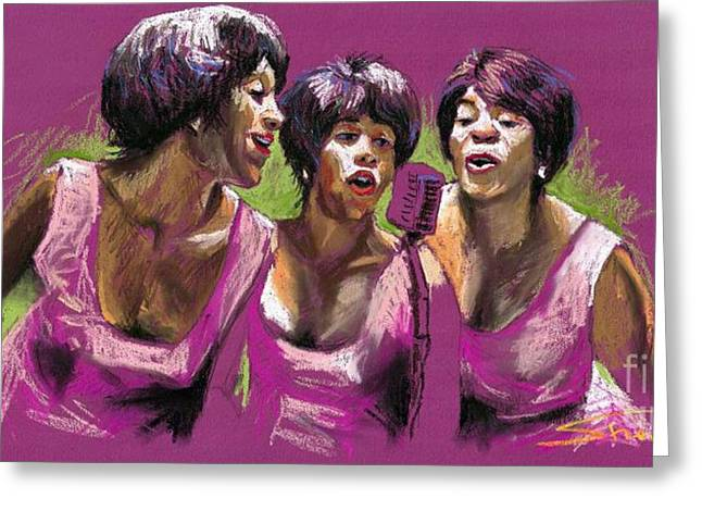 Pastel Greeting Card featuring the painting Jazz Trio by Yuriy  Shevchuk