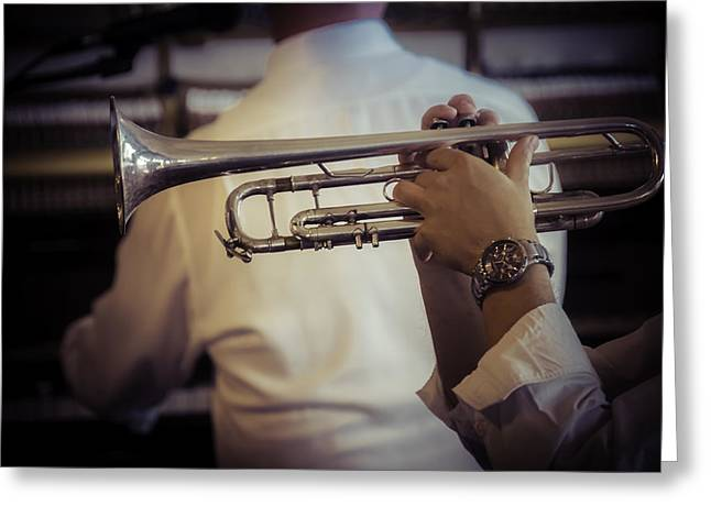 Playing Musical Instruments Greeting Cards - Jazz Trumpet New Orleans Greeting Card by Garry Gay