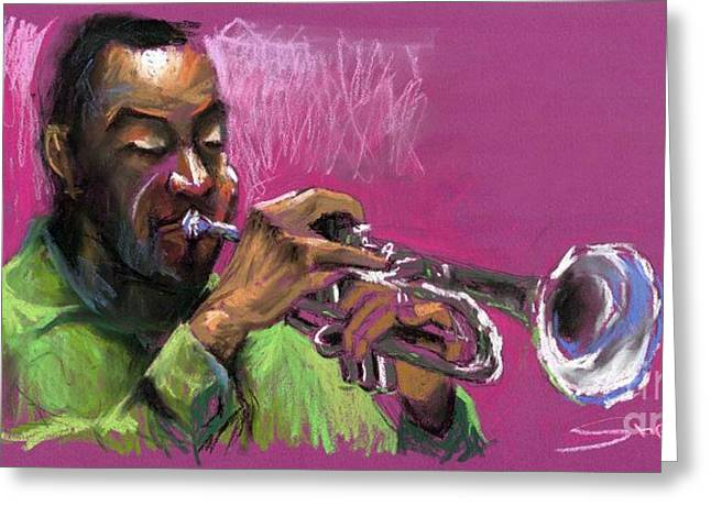 . Music Greeting Cards - Jazz Trumpeter Greeting Card by Yuriy  Shevchuk