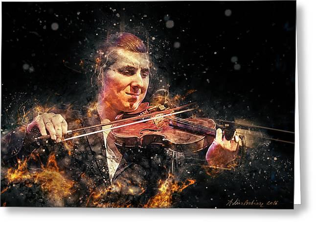 Jazz Violin Player Greeting Card by Arthur Babiarz