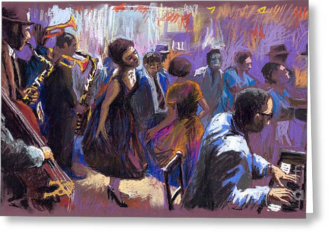 Pastel Greeting Card featuring the painting Jazz by Yuriy  Shevchuk