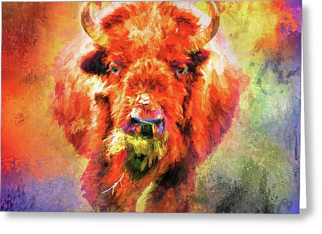 Jazzy Buffalo Colorful Animal Art By Jai Johnson Greeting Card by Jai Johnson