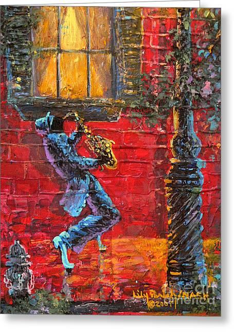 Saxaphone Greeting Cards - Jazzy Greeting Card by David Bearden